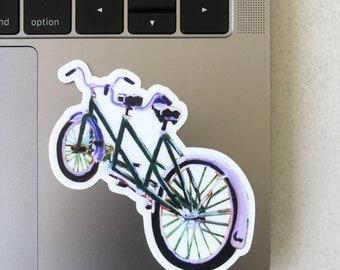 Schwinn Tandem Bicycle Sticker, Scott Clendaniel, Alaskan Artist, Anniversary Gift, Present for Parents, Bike Sticker, Gift for Girlfriend