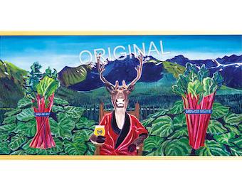 Painting on the Beer Can Label of Rhu Hefner by Girdwood Brewing, Scott Clendaniel, Beer Artist, Caribou, Rhubarb, Alaskan Mountains