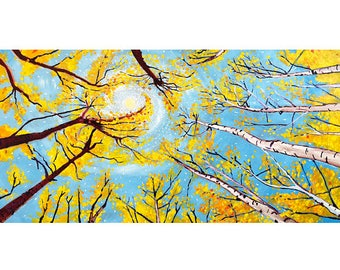 Golden Birch Tree Leaves, Trees Circle, Fall Foliage Painting, Autumn Leaf Colors, Living Room Painting, Wedding Gift, Yellow & Blue, Forest