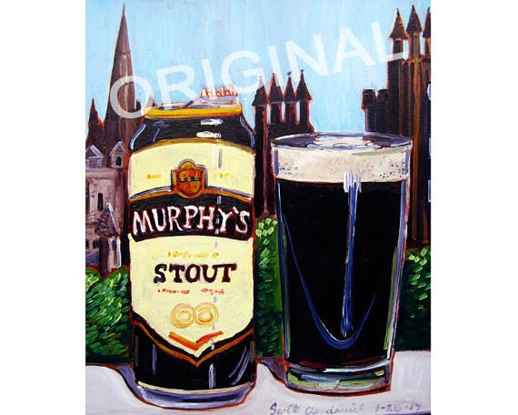 Murphy's Stout Beer Painting, Scottish Alcohol Gift, Scotland Painting,  Craft Beer Gifts, Dining Room Painting, Food Painting, Bar Beer Art