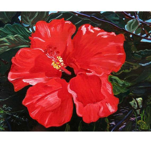 Hawaii Painting Red Hibiscus Flower Painting Hawaii Flower Etsy