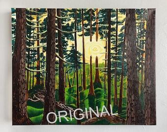 Winner Creek Trail Oil Painting on Canvas, Alaskan Artist, Girdwood, Alaska, Yellow Rose Art, Boreal Forest Painting, Scott Clendaniel