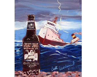 Edmund Fitzgerald Porter Beer Art, Great Lakes Brewing, Ohio Beer Gift for Husband, Gift for Brother, Man Cave Beer Poster, Bar Art for Him
