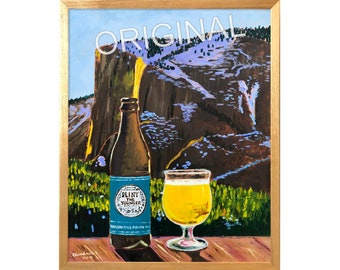 Pliny the Younger IPA Oil Painting, Yosemite National Park, Horsetail Falls Firefall, Russian River Brewing, California Craft Beer Art