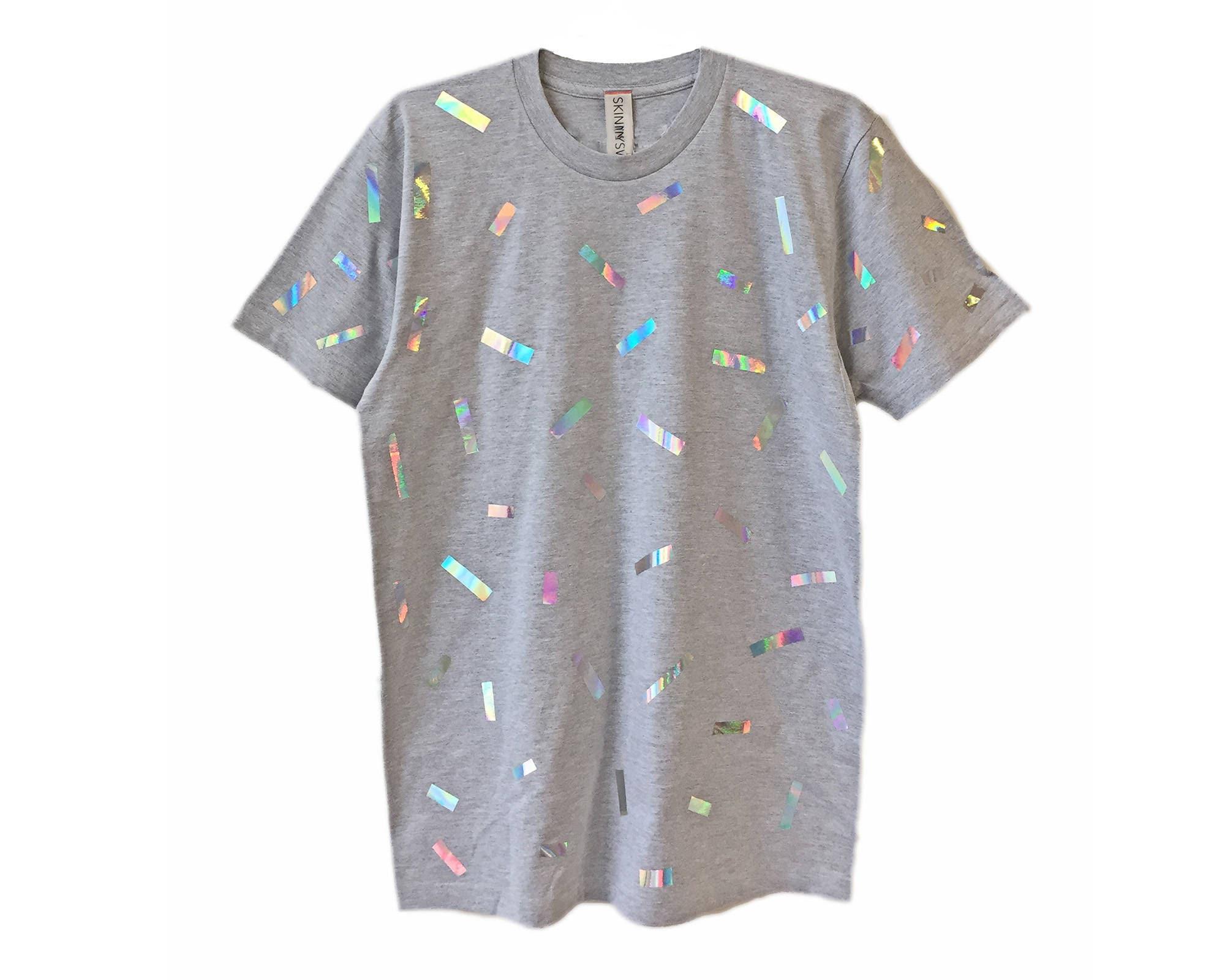 72c2fc8cf973 Holographic Confetti T-shirt Rainbow Iridescent Hologram