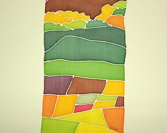 FREE SHIPPING Silk Painting - Original painting - Painting on silk - Handpainting - Decoration silk - 30 x 15 cm