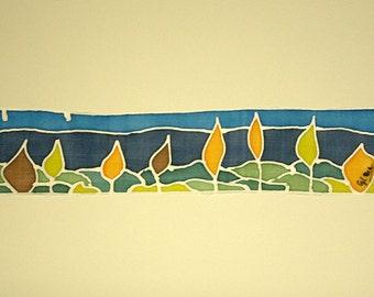 FREE SHIPPING Silk Painting - Original painting - Painting on silk - Decoration silk - 24 x 5 cm
