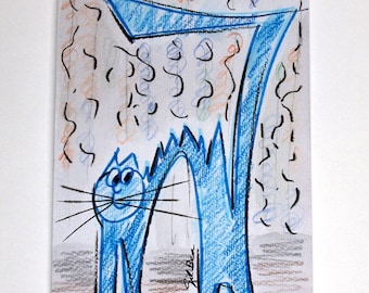 FREE SHIPPING Original Watercolor. Blue cat