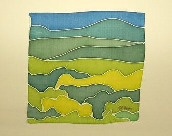FREE SHIPPING Silk Painting - Original painting - Painting on silk - Handpainting - Decoration silk - 17 x 17 cm