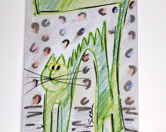 FREE SHIPPING Original Watercolor. Green cat