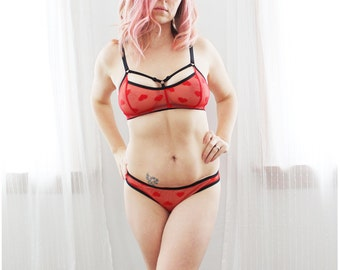 815df8a5a8 Bright Red Sheer  Cinnamon Hearts  Strappy Lingerie Set Handmade to Order