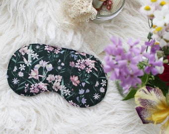 Black Floral Sleep Mask | 'Iris' Purple Floral Plant Mom Mask | Customizable Silk or Cotton Lining