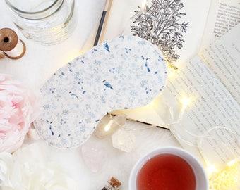 Blue and Beige 'Magpie' Cotton Bird Toile Print Sleep Mask