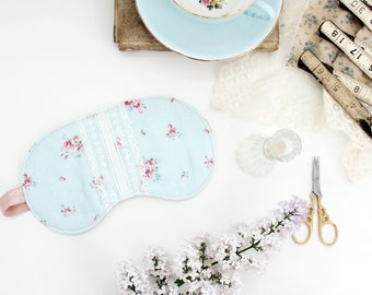 Cottagecore Sleep Mask | Cotton Floral and Lace 'Calico' Eye Mask | Choose from Silk or Cotton Lining