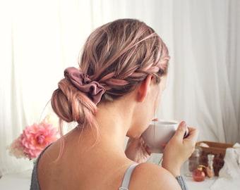 Rosewood 100% Silk Scrunchie Hair Tie Handmade by Ohh Lulu