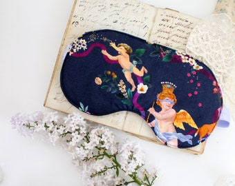 Cherub Sleep Mask | 90s Soft Grunge Navy Blue Floral & Stars | Customizable Silk or Cotton Lining