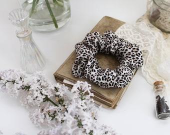 Silk Scrunchie | Neutral Leopard Animal Print Natural Fibre Hair Tie | Handmade in Canada
