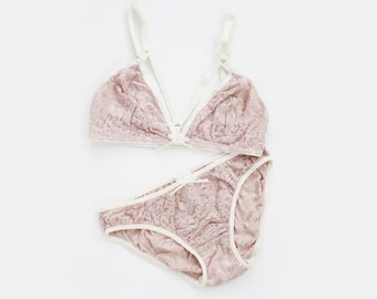 b78078e501 First Blush Pale Pink Sheer Lace and Ivory Strappy Lingerie Bra and Panties  Set Handmade to Order by Ohh Lulu