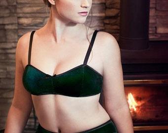 ad1543108c Wintergreen Emerald Velvet Bra   High Waist Panties Lingerie Set Handmade  to Order. ohhhlulu Sold