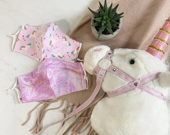 Adjustable Cloth Masks for KIDS with Filter Pocket, Nose Wire in Unicorn, animal, whimsical prints