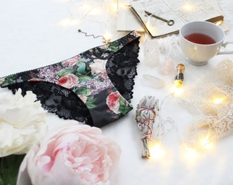 Black Floral 'Nightshade' Cotton and Lace Bikini Cut Panties Handmade Underwear Made to Order