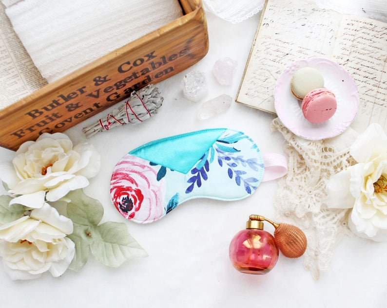 Robin Egg Blue /'Sylph/' Purple and Pink Floral Sateen Sleep Mask with Teal Satin Geometric Detail