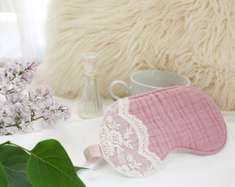 Dusty Rose 'Heirloom' Cotton and Lace Sleep Mask