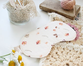 SALE Mushroom Sleep Mask | Pretty Cream Leaf and Mushroom Print with Silk Lining | Flawed