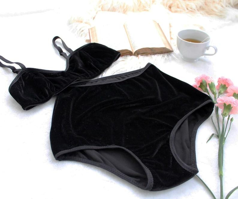 5f992be75c18 Black Velvet High Waist Lingerie Set 'Equinox' Bra and   Etsy