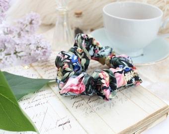 Vintage Garden 100% Silk Dark Black Floral Scrunchie