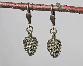 Pine Cone Earrings - Christmas Earrings - Antique Brass Earrings - Bronze Earrings - Holiday Earrings - Gifts Under 15 - Gifts for Her