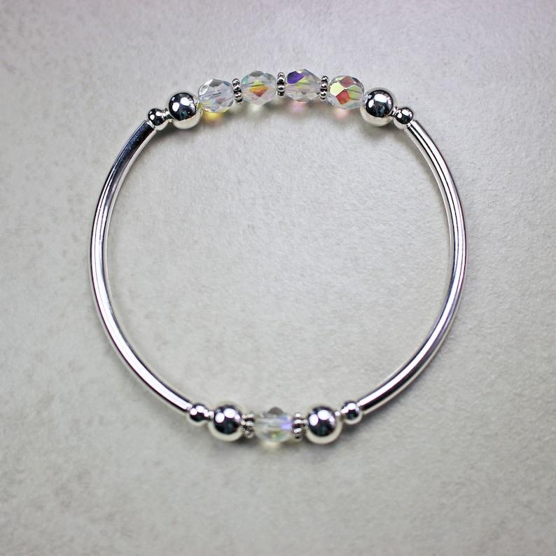 Clear AB Crystals on Silver Stretch Bracelet