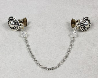 Silver Chain with Clear Crystals Sweater Clip