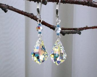 Elegant Crystal and Sterling Silver Earrings