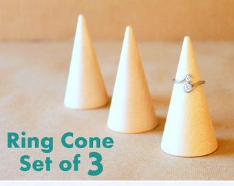 Ring Cone Display |  Set of 3, Ring Holder, Trade Show Ring Organizer, Craft Show Display, Retail Fixture, Single Ring Showcase