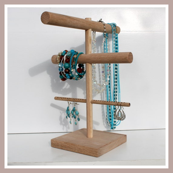 3Pack Vintage Earring Necklace Jewelry Display Rack T Stand Holder Organizer