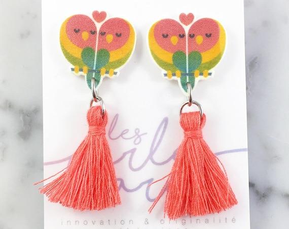 Love birds, yellow, green, orange, corail,  earring, tassel, hypoallergenic, plastic, stainless stud, handmade, les perles rares