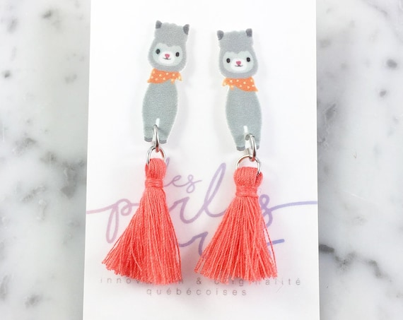 Llama, gray, coral, earring, orange, tassel, hypoallergenic, plastic, stainless stud, handmade, les perles rares