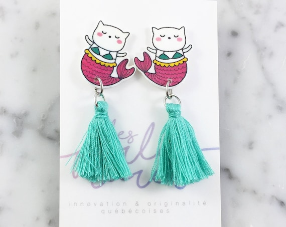 Purrmaid earring, turquoise, pink, tassel, hypoallergenic, plastic, stainless stud, handmade, les perles rares