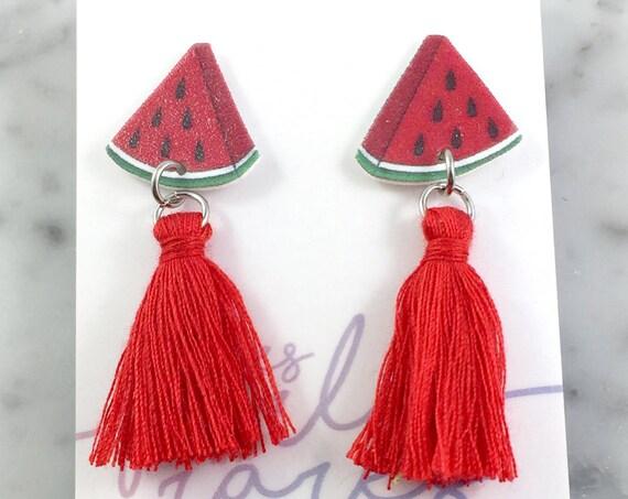 Watermelon, earring, tassel, red, hypoallergenic, plastic, stainless stud, handmade, les perles rares