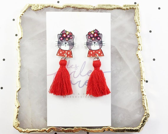Cat, flower, gray, red, pull, earring, tassel, hypoallergenic, plastic, stainless stud, handmade, les perles rares
