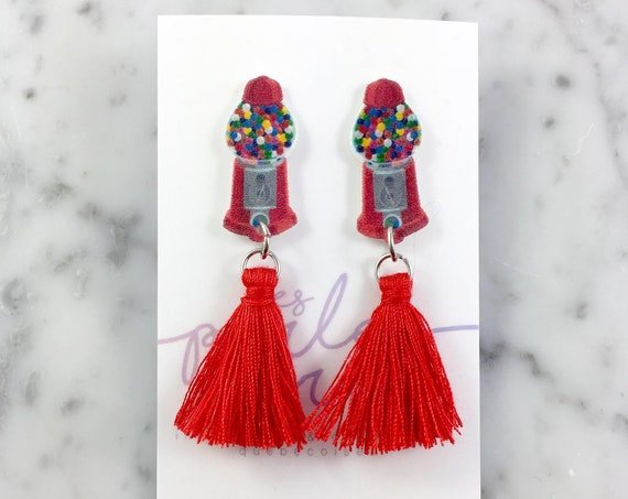 Bubble gum, earring, tassel, red, candy, hypoallergenic, plastic, stainless stud, handmade, les perles rares