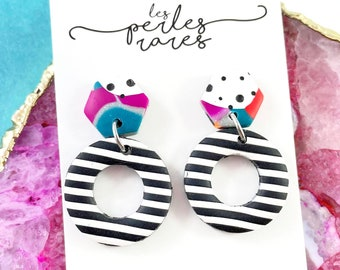 Polymer, black and white, stripped, multicolored, ring, colors, two pieces, stainless stud, polymer clay, les perles rares
