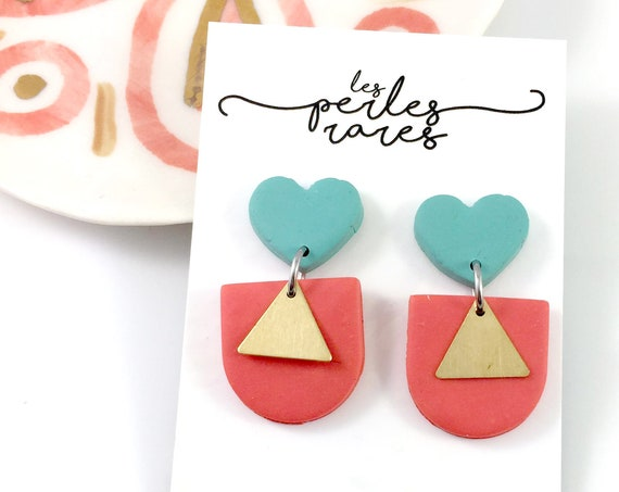 polymer geometric, orange, turquoise, stud, stainless stud, triangle gold, polymer clay earring, les perles rares
