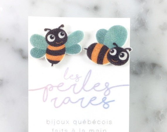 bees, yellow black bees, bees earrings, differents bees, stud print on plastic, shrink plastic, stainless stud, handmade, les perles rares