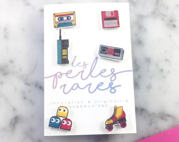 mix and match, 80s teenager games, 90s stud, phone, gamer, roller blade, pacman, earring, stud,  stainless stud, handmade, les perles rares
