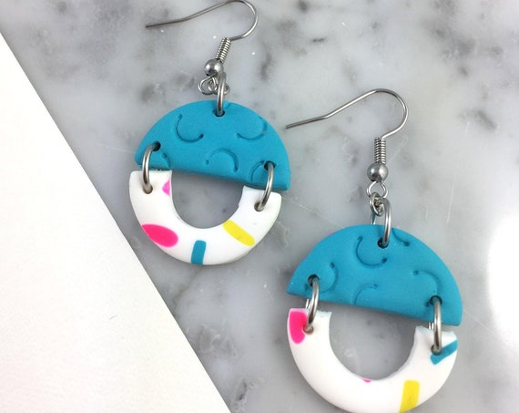 dangle earring, stainless hook, polymer clay earring, blue, neon, white, funfetti, half circle dangle earring, white, les perles rares