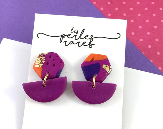 polymer hexagone earring, stainless stud, purple, orange, gold sheet, shinny, polymer clay, light jewelry, polymer earring, les perles rares