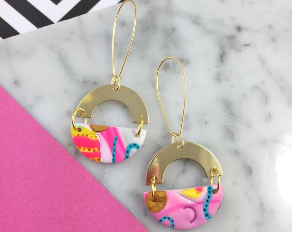 dangle earring, gold brass hook, polymer clay earring, colors, neon, unique piece, half circle dangle earring, white, les perles rares