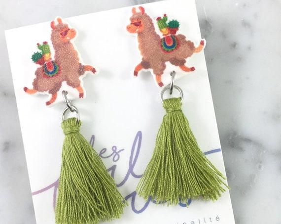 Llama, green olive tassel, earring, lovely llama, lama earring, tassel, hypoallergenic, plastic, stainless stud, handmade, les perles rares